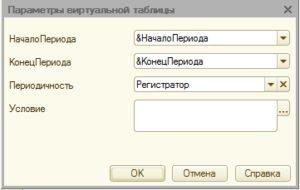 Параметры виртуальной таблицы Обороты